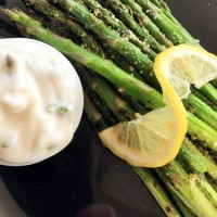 Grilled Asparagus with Vegan Parmesan & Herbed Aioli