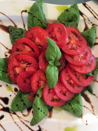 Tomato Basil Oil, Balsamic Fig Reduction Salad